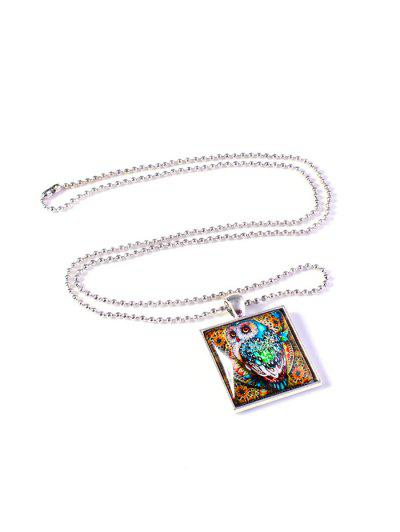 Colored Painting Owl Pendant Necklace - Silver