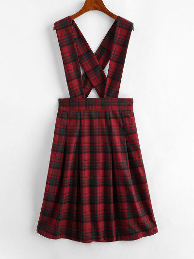 ZAFUL Plaid Tartan Criss Cross Suspender Pleated Skirt - Red Xl