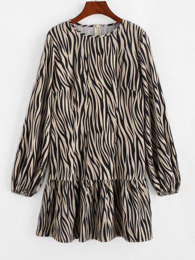 ZAFUL Langärmliges Kleid Mit Zebradruck Und Rüschensaum - Licht Kaffee S