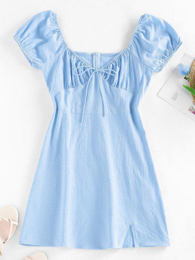 ZAFUL Bowknot Puff Sleeve Slit Mini Dress - Light Blue M