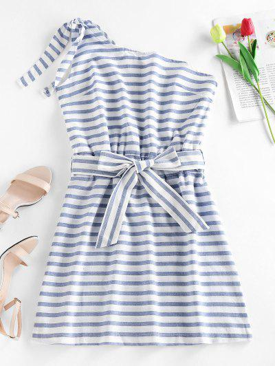 Striped One Shoulder Mini Dress - Light Blue S