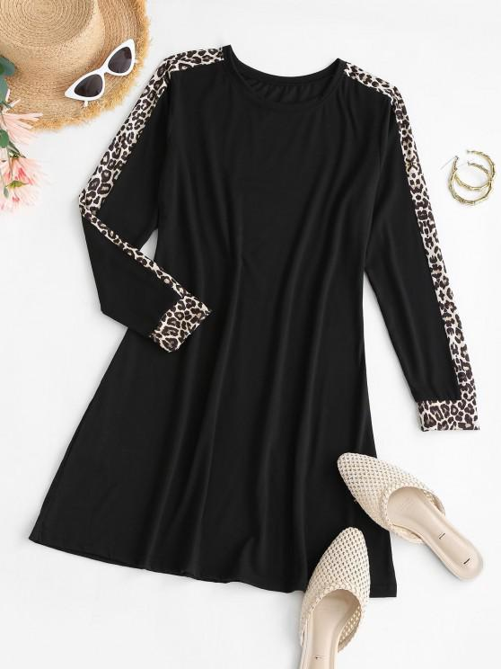Leopard Insert Mini T Shirt Dress - أسود L