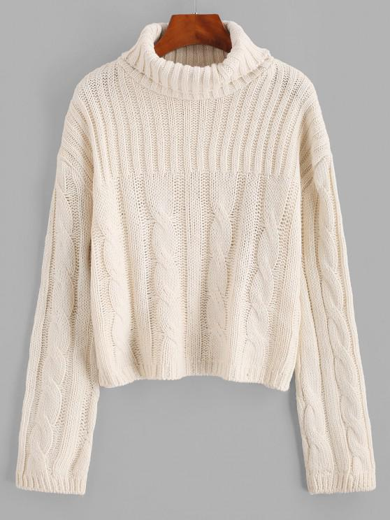 ladies Solid Funnel Neck Cable Knit Sweater - WHITE ONE SIZE