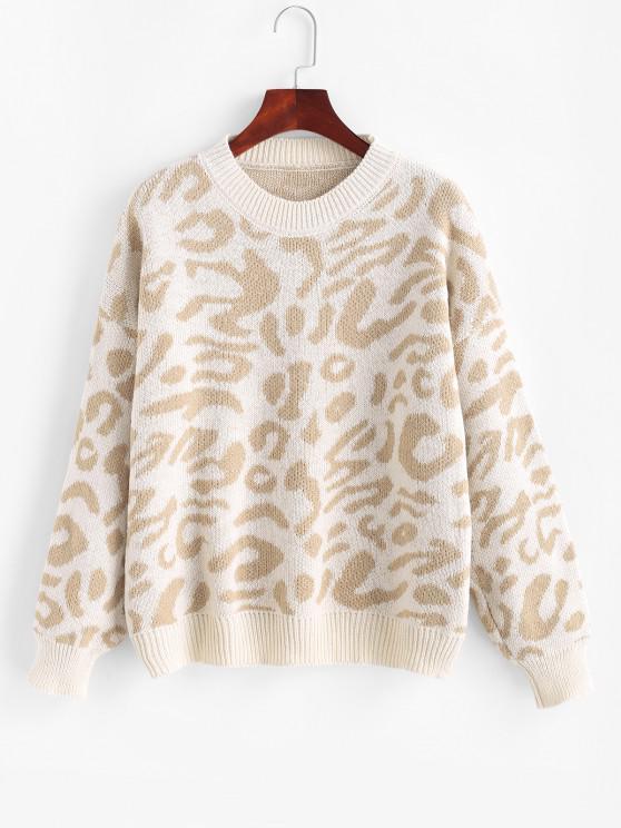 Jersey de Leopardo con Cuello Redondo de Hombro Caído - café luz Talla única