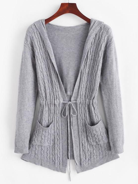 fancy Drawstring Dual Pocket Cable Knit Cardigan - LIGHT GRAY ONE SIZE