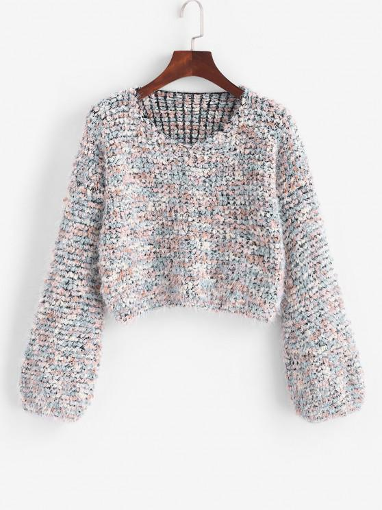 ladies Fuzzy Heathered Boucle Knit Cropped Sweater - MULTI ONE SIZE