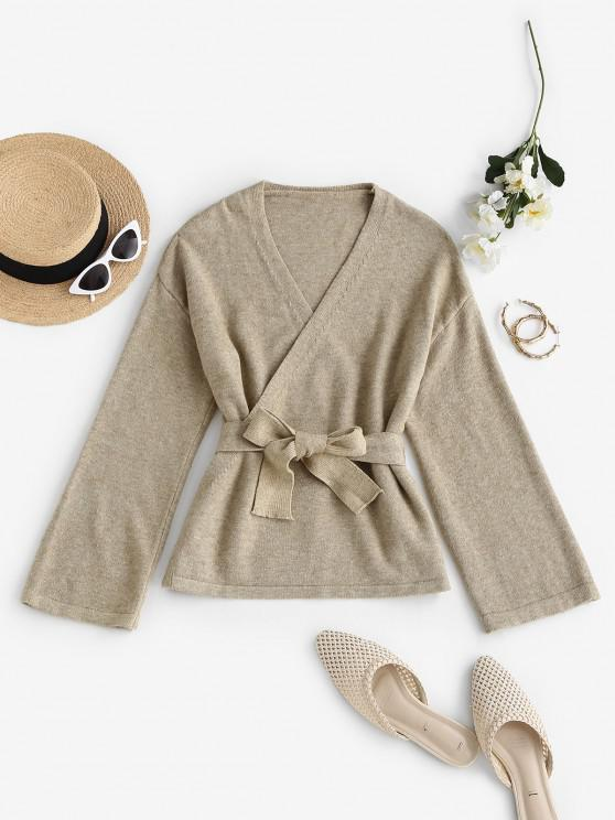 fancy Belted Heathered Wrap Cardigan - LIGHT COFFEE ONE SIZE