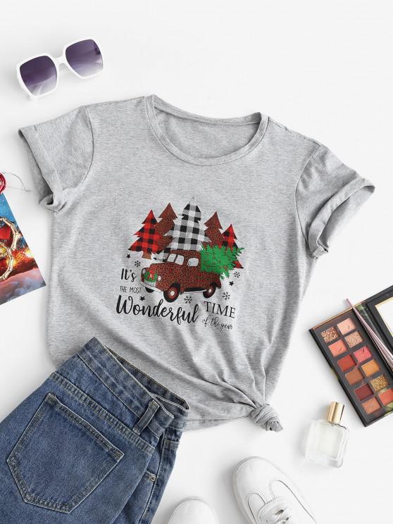 Marled Christmas Tree Car Print Tee - رمادي فاتح M