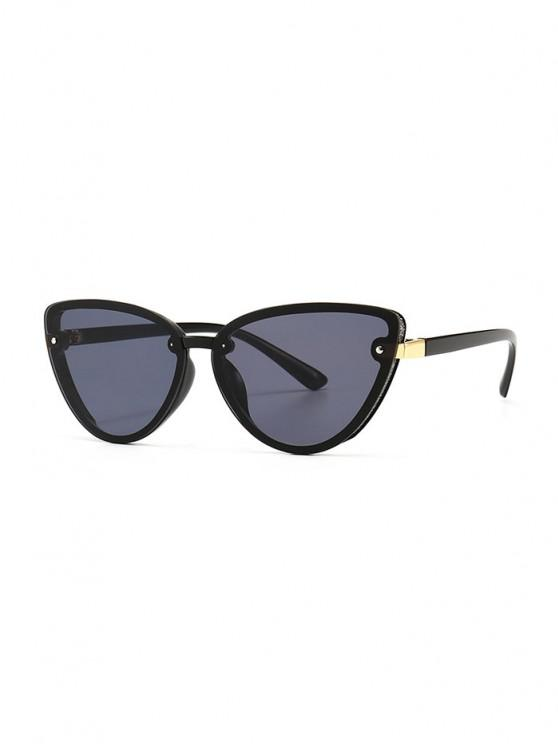 outfit Charm UV Protection Mental Sunglasses - BLACK