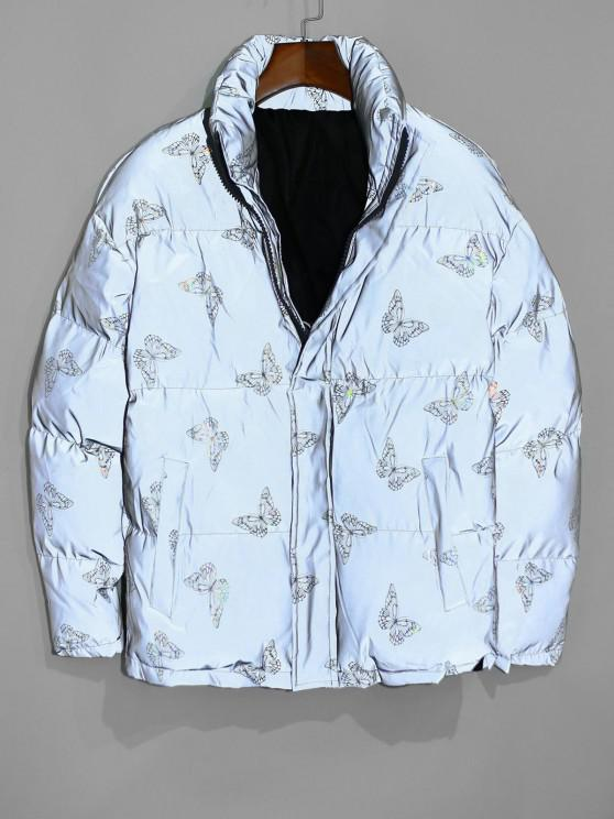 latest Reflective Butterfly Print Puffer Jacket - TWILIGHT GOLD M