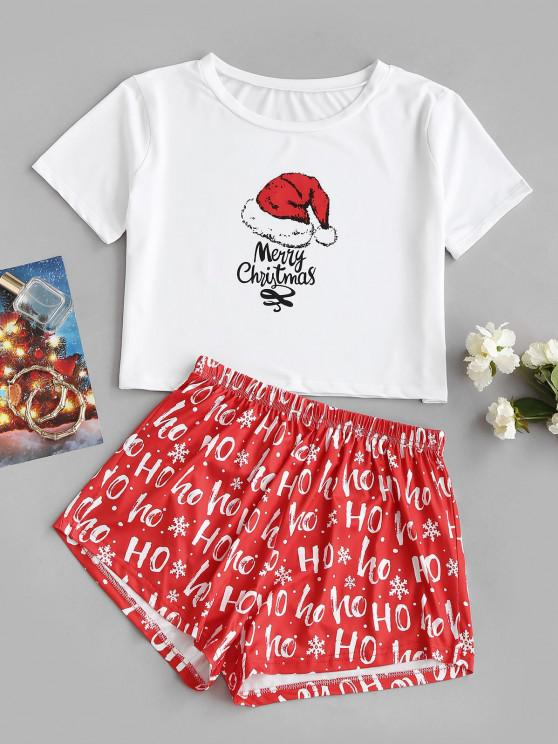 Top e Pantaloncini con Stampa Lettere MERRY CHRISTMAS - Bianca XL