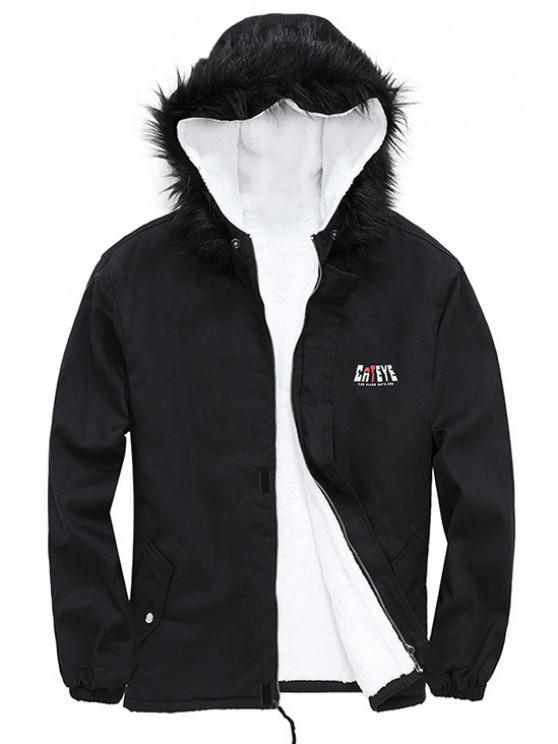 ladies Detachable Faux Fur Cateye Plush-lined Hooded Jacket - BLACK L