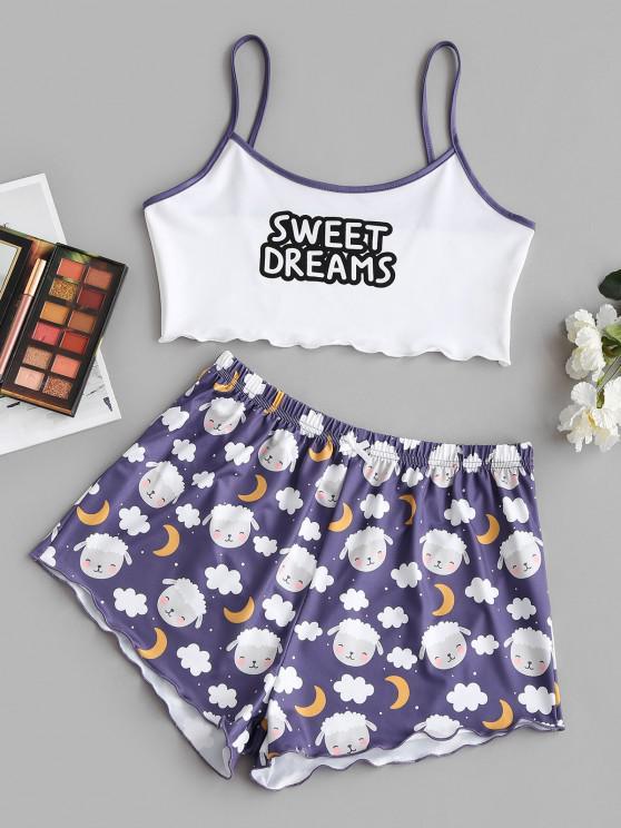 ladies Sweet Dreams Moon Funny Two Piece Set - PURPLE L
