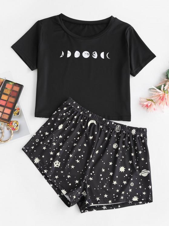 best Star Moon Print Tee and Shorts Set - BLACK S