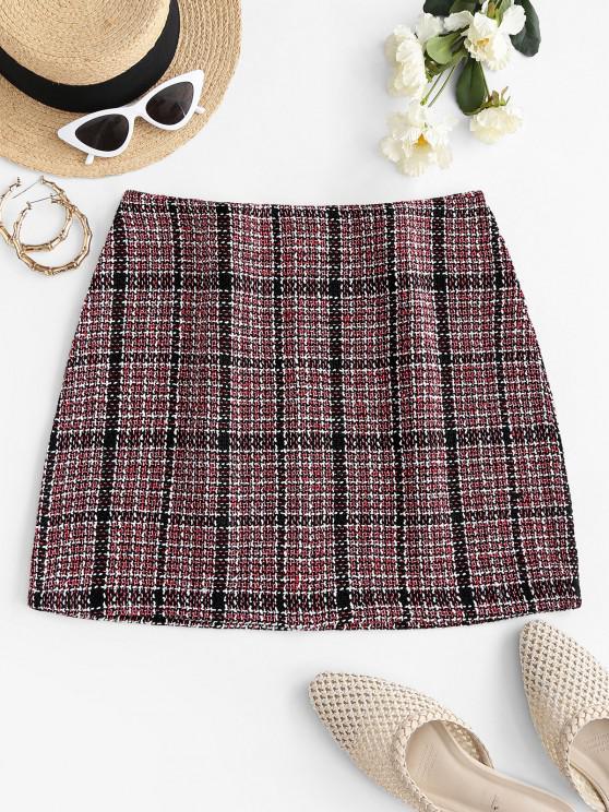 womens Plaid Tweed Mini Skirt - MULTI M