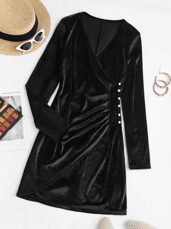 women Surplice Velvet Loop Button Slit Ruched Dress - BLACK L