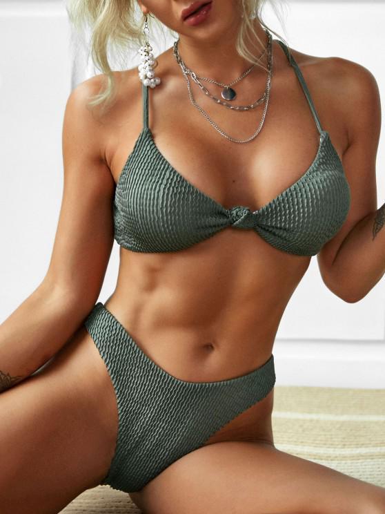 fancy ZAFUL Crisscross Front Knot Bikini Swimwear - LIGHT GREEN M