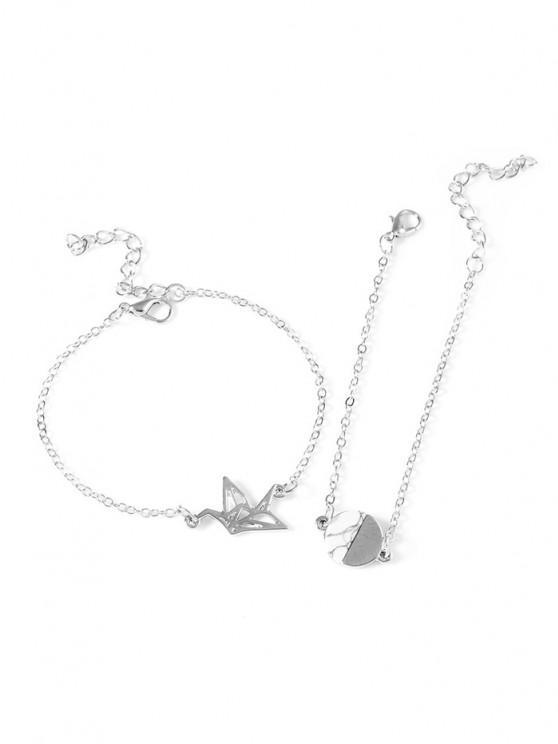 unique 2Pcs Origami Round Marbling Bracelet Set - SILVER