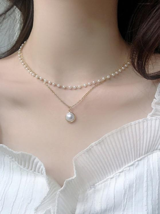 lady Retro Faux Pearl Layered Necklace - SILVER