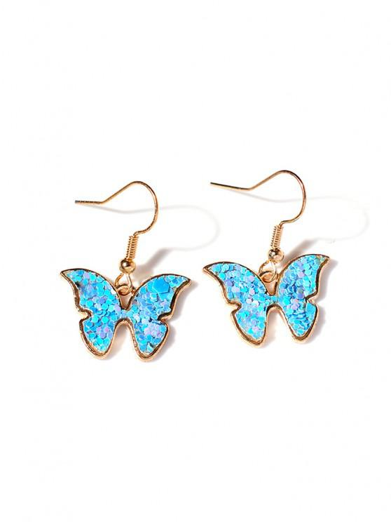 outfits Butterfly Sequins Drop Earrings - SKY BLUE