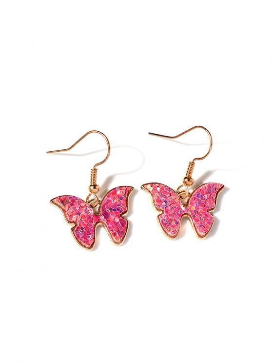 Butterfly Sequins Drop Earrings - وردي فاتح