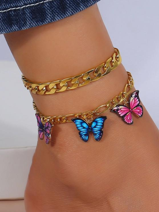 2Pcs Butterfly Pendant Chain Anklet Set - ذهبي