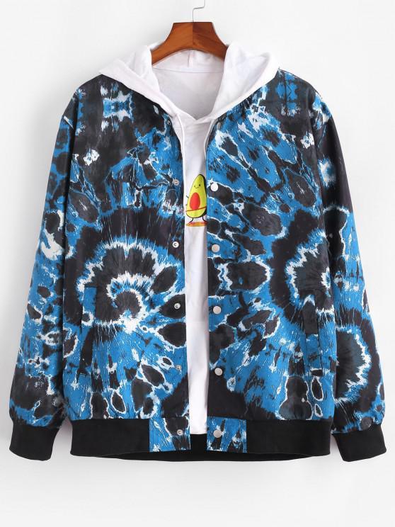 Veste Teintée Tourbillon Imprimée avec Bouton Pression - Bleu L