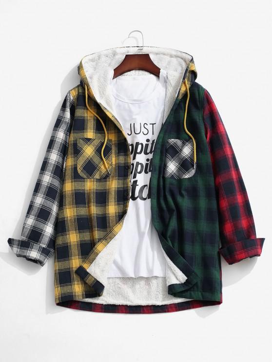 Colorblock Plaid Pocket Fluffy Hooded Shirt Jacket - الأصفر S