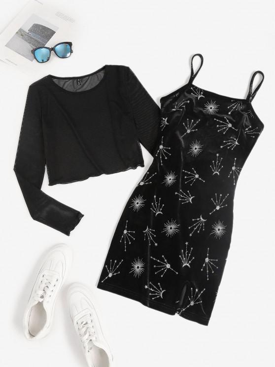 affordable Glitter Star Velvet Cami Dress with Mesh Top Set - BLACK M