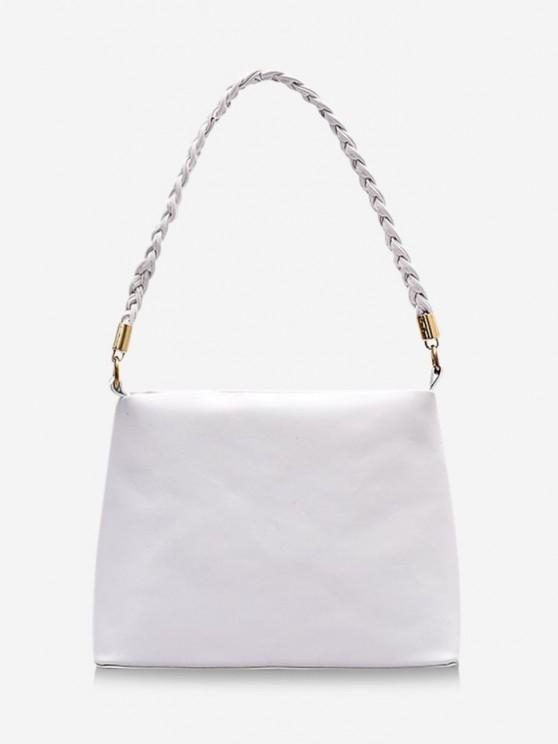 latest Braided Strap Square Solid Handbag - MILK WHITE