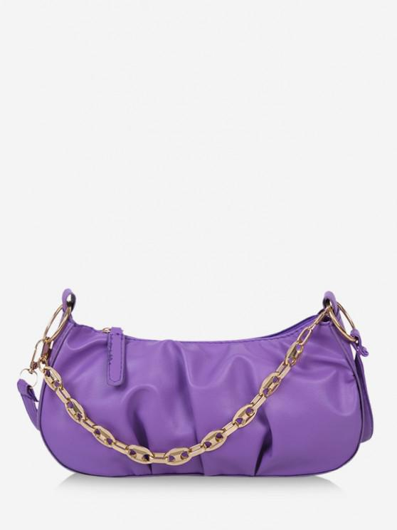 hot Pleated Chain Solid Shoulder Bag - JASMINE PURPLE
