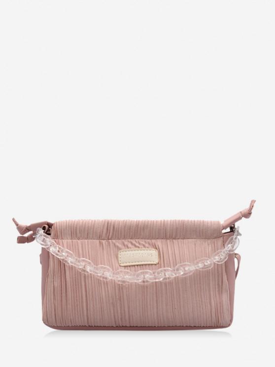 Chain Pleated Shoulder Bag - خنزير وردي