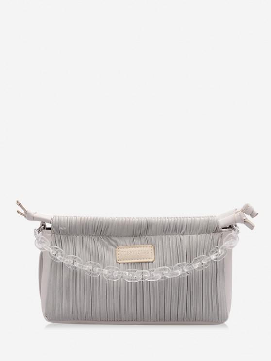 Chain Pleated Shoulder Bag - أوزة رمادية