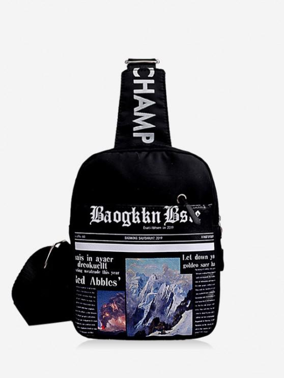 ladies Newspaper Print Canvas Crossbody Bag - BLACK