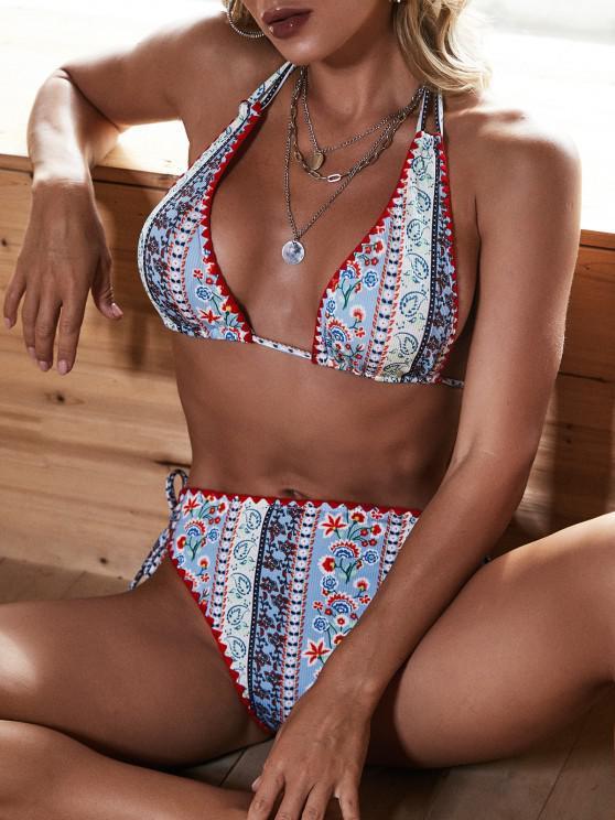 ZAFUL Bikini Halter con Estampado Étnico - Azul claro M