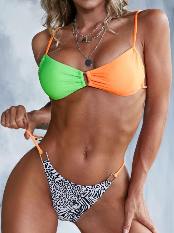 ZAFUL Rectangle Rings Animal Print Colorblock Tanga Bikini Swimwear - متعدد S