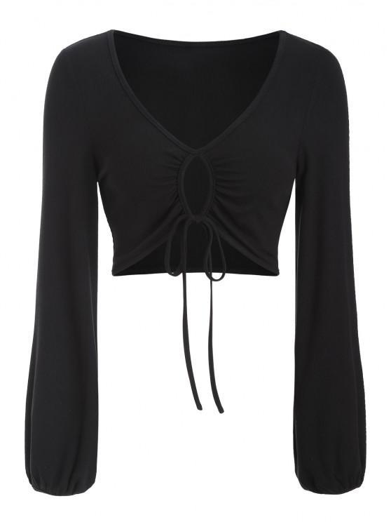 womens ZAFUL Ribbed Keyhole Drawstring Crop T Shirt - BLACK M
