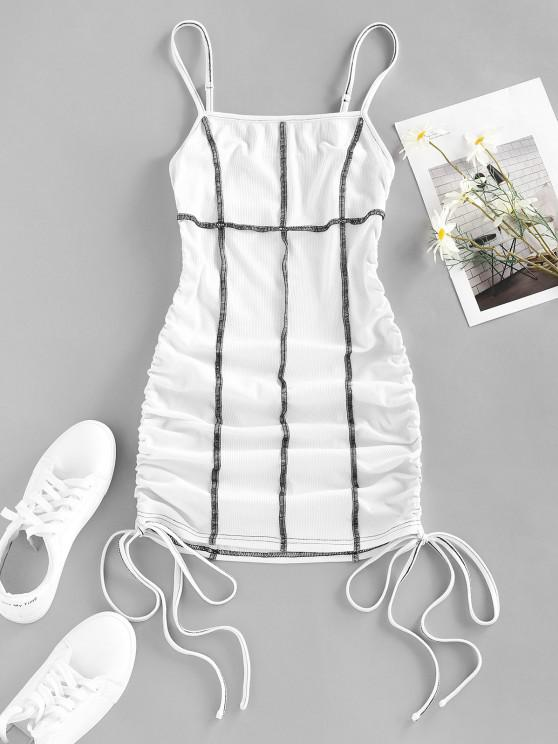 trendy ZAFUL Ribbed Topstitch Cinched Tie Ruched Dress - WHITE S