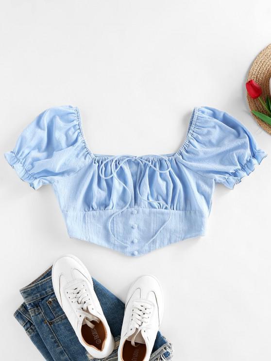 chic ZAFUL Ruffle Puff Sleeve Bowknot Mock Button Blouse - LIGHT BLUE L
