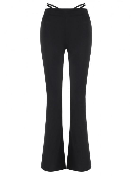 Pantalon Bootcut à Bretelle Embelli de Strass - Noir S