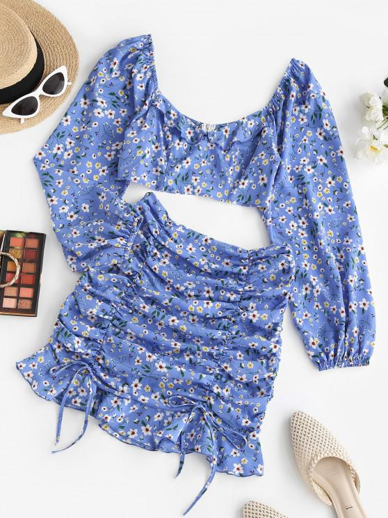 latest ZAFUL Floral Ruched Tie Ruffle Two Piece Dress Set - BLUE S
