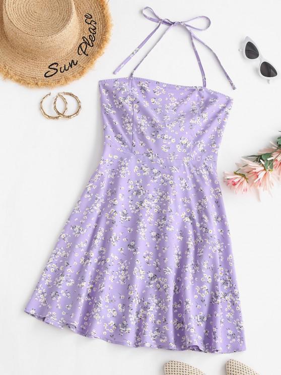 fancy ZAFUL Floral Knotted Halter Backless Dress - PURPLE M