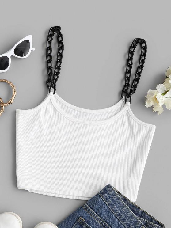 unique Contrast Chain Strap Ribbed Crop Tank Top - WHITE S