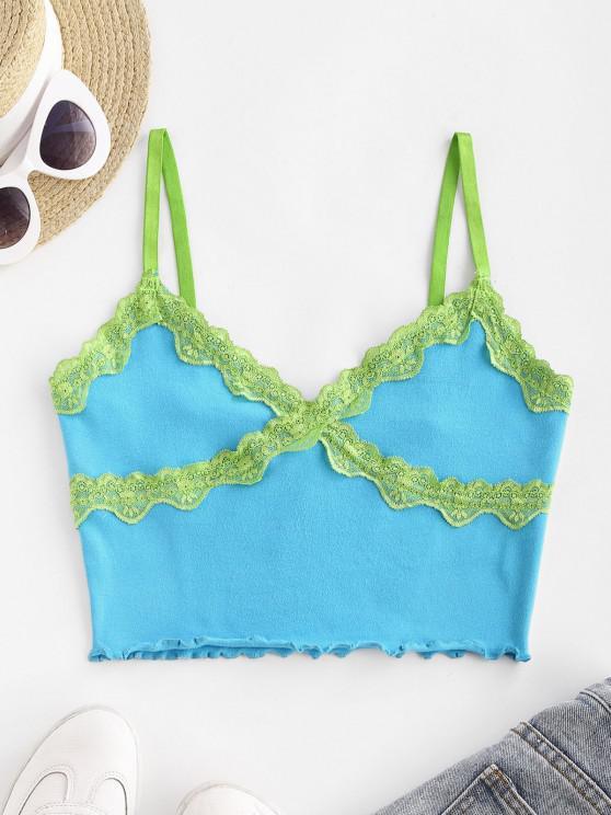 women's Lace Panel Lettuce-trim Jersey Camisole - BLUE L