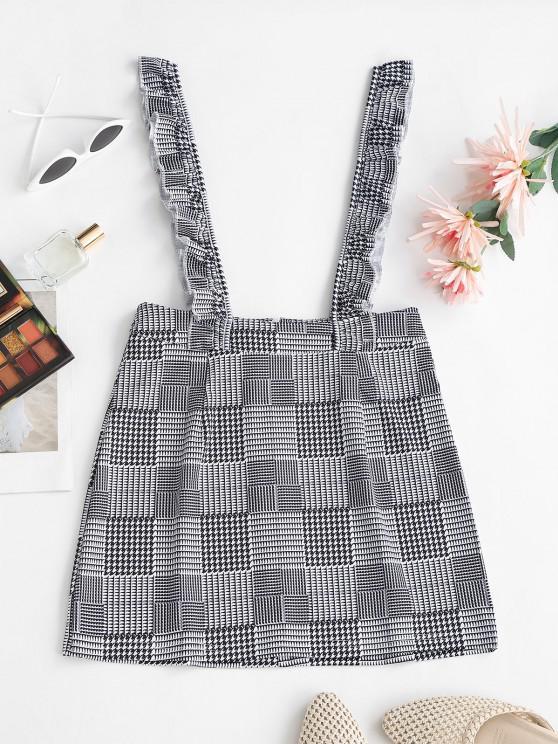 ladies Plaid Ruffled Straps Suspender Mini Skirt - BLACK S