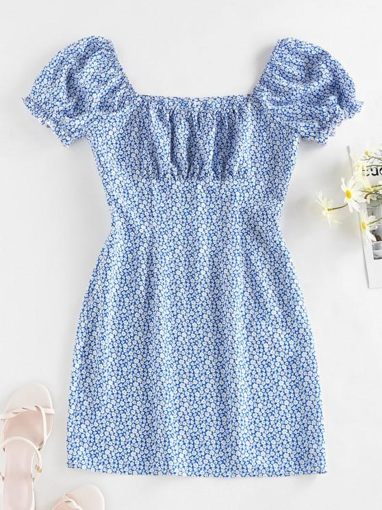 women's ZAFUL Ditsy Print Ruffle Puff Sleeve Milkmaid Dress - BLUE M