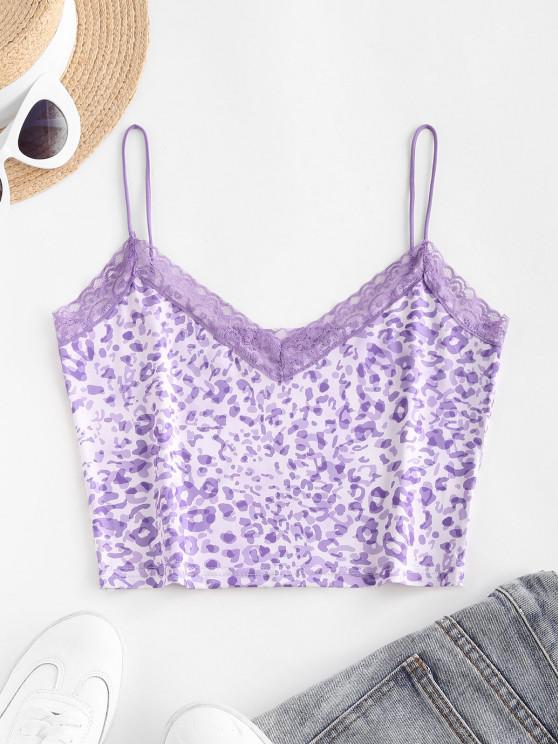 affordable Bungee Strap Lace Trim Leopard Camisole - PURPLE S