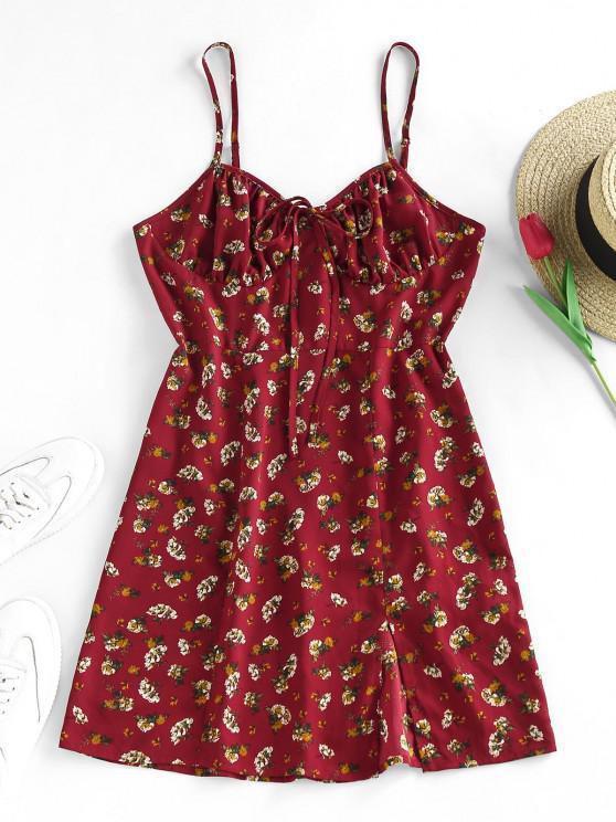 chic ZAFUL Ruched Bust Front Slit Ditsy Print Mini Dress - FIREBRICK M