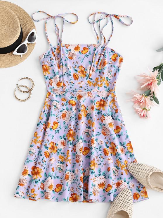 lady ZAFUL Floral Tie Shoulder Smocked Cami Dress - PURPLE M