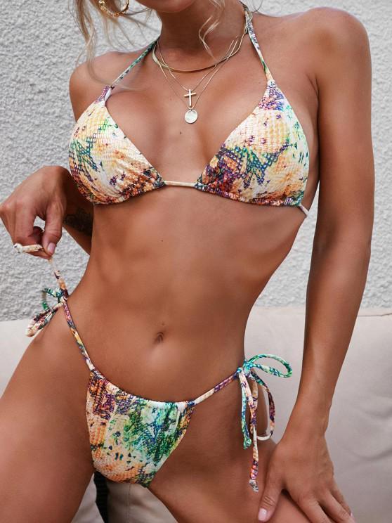 ladies ZAFUL Convertible Glossy Coated Snakeskin Leopard String Bikini Swimwear - DEEP YELLOW S
